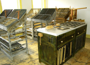 Third floor of the Grandin Building showing how the type was utilized in the printing process. Photo by Kenneth Mays.
