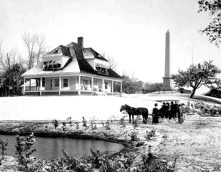 View of Sharon, Vermont (1907) showing the monument and Memorial Cottage. Photo by George Edward Anderson.