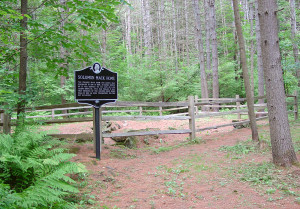 Site of the Solomon Mack home, where he lived when Joseph Smith was born nearby on Mack's farm. Photo by Kenneth Mays