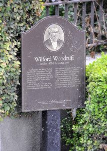 Interpretive sign outside the Isaac Trumbo home where Wilford Woodruff died. Photo by Kenneth Mays.