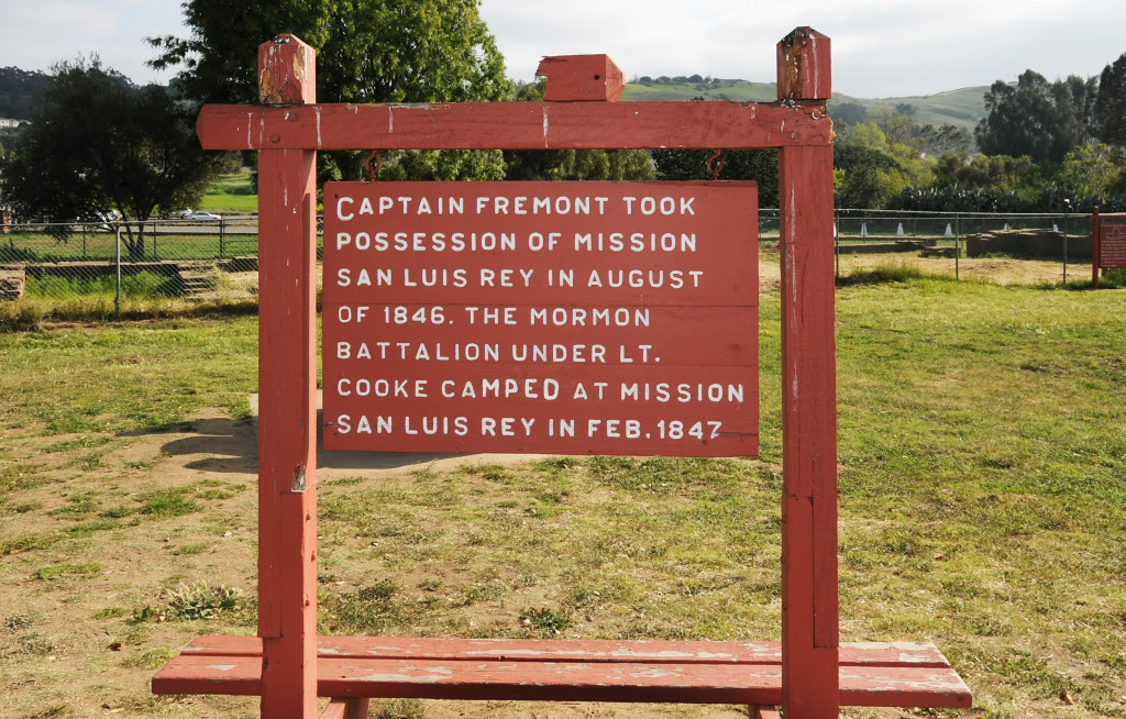 Sign at Old Mission San Luis Rey noting the Mormon Battalion. Photo by Kenneth Mays.