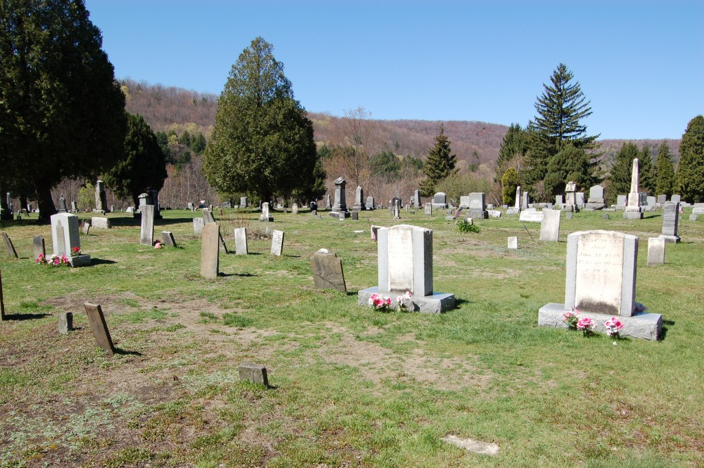 Headstones of Isaac and Elizabeth Hale. Grave of Alvin Smith is seen at the far left. Photo by Kenneth Mays.