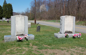 Headstones of Isaac and Elizabeth Hale, parents of Emma Hale Smith. Photo by Kenneth Mays.