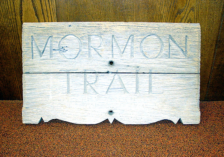 Trail sign at the Prairie Trails Museum of Wayne County, Iowa. Photo by Kenneth Mays.