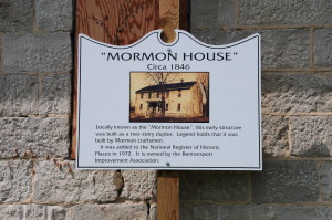 Sign interpreting the Mormon House at Bentonsport, IA. Photo by Kenneth Mays.