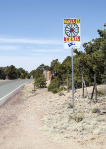 A sign notes the approximate route of the Santa Fe Trail.