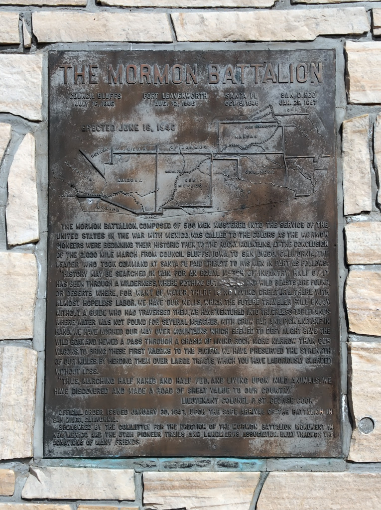 Mormon Battalion monument near Albuquerque, New Mexico. Photo by Kenneth Mays.