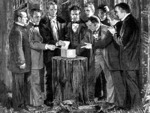 Artist's rendering of the Eight Witnesses seeing the golden plates.