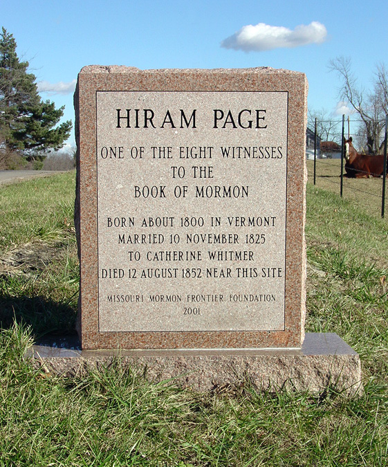 Hiram Page gravesite, Excelsior Springs, Missouri. Photo by Kenneth Mays.