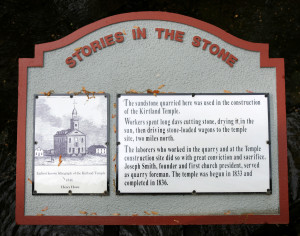 Interpretive sign at the Stannard stone quarry. Photo by Kenneth Mays.