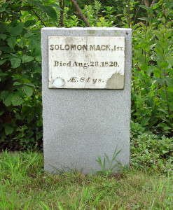 Headstone of Solomon Mack. Photo by Kenneth Mays.