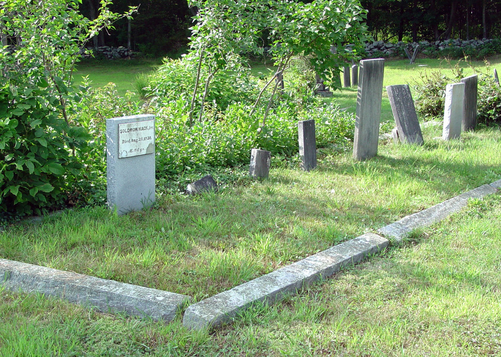 The larger headstone at the left marks the burial site of Solomon Mack, father of Lucy Mack Smith. Photo by Kenneth Mays.