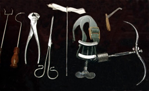 Surgical instruments available during the time of Joseph Smith's boyhood leg operation. Photo by Kenneth Mays.