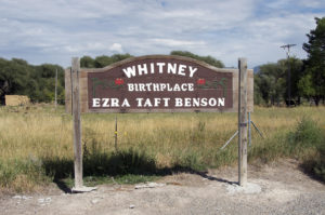 Sign noting that Whitney is the birthplace of Ezra Taft Benson. Photo by Kenneth Mays.