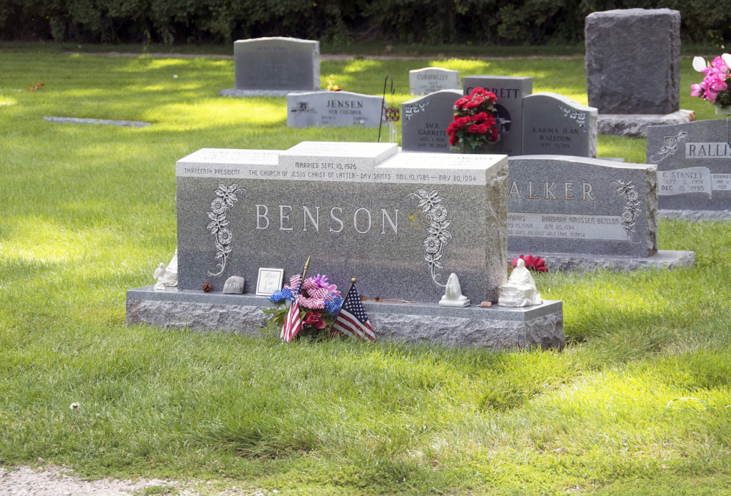 Headstone of Ezra Taft Benson and wife, Flora. Photo by Kenneth Mays.