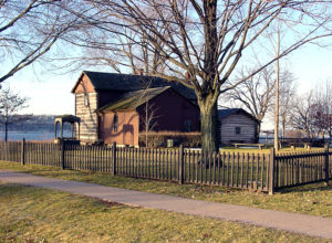 Joseph Smith Homestead with the Mississippi River seen at the left. Photo (2002) by Kenneth Mays.