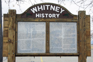 Historical panel for the general public at Whitney, Idaho. Photo by Kenneth Mays.