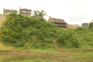 Reconstructed Fort Osage as seen from the Missouri River. Photo by Kenneth Mays.