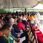 Dignitaries and other guests assembled for the dedication of the monument at Mu'a. Photo by Kenneth Mays.