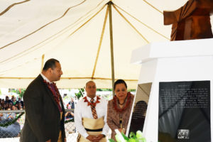 His Majesty King Tupou VI (left) and Her Majesty Queen Nanasipau'u attended the monument dedication of the monument as did their son, Prince Ata (center). Photograph by Kenneth Mays.