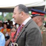 His Royal Majesty, King Tupou, greets attendees following the dedication of the monument at Mu'a.