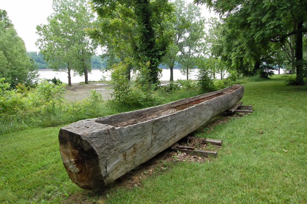 Dugout canoe at Fort Osage. Photo by Kenneth Mays.